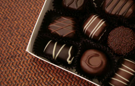 fancy box of assorted chocolates Stock Photo