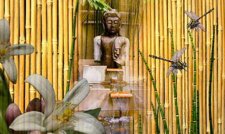 Aziatische meditatie tuin collage  Stockfoto