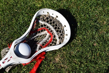 Lacrosse stick head with ball on grass