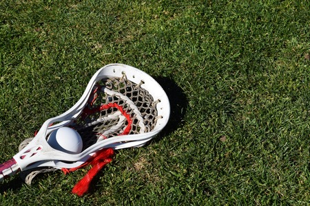 Lacrosse head with ball on grass