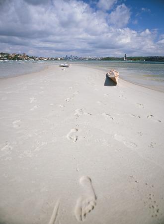 sandbank: canoes on a sandbank in Sydney, Australia