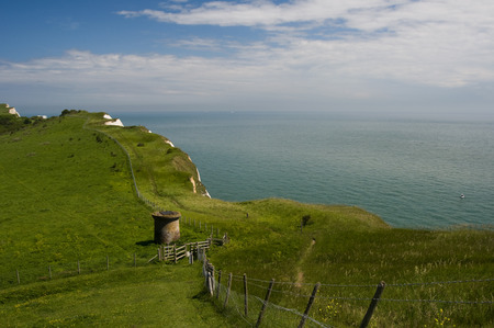 kent: view from the top of the White Cliffs of Dover, Kent, UK Stock Photo
