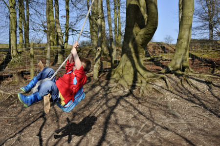 swinging: young boy swinging on a rope swing Stock Photo