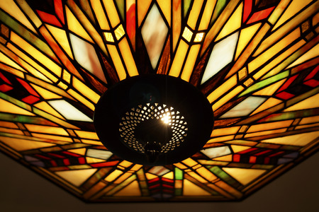 ceiling: Stained glass ceiling light