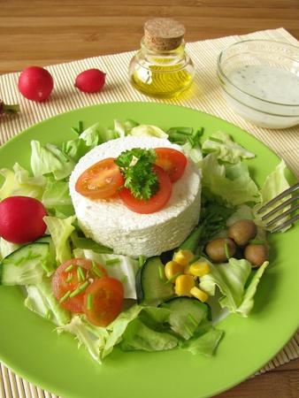 Goat cream cheese on salad Stock Photo - 9926333
