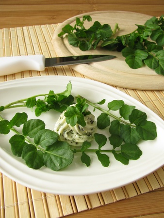 watercress: Herb butter with watercress Stock Photo
