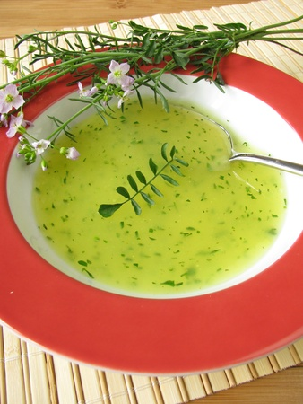 Cream soup with cuckoo flower photo