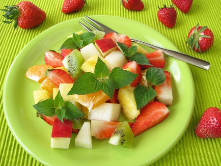 fruit salad: Fruit salad with honey melon sage