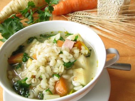 Vegetable soup with barley grains