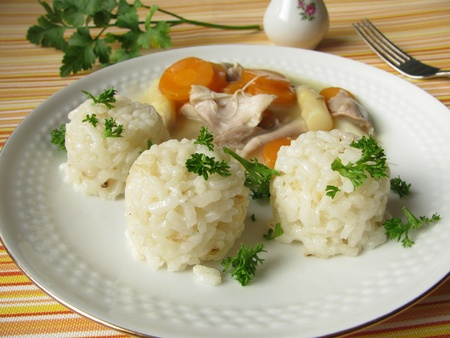 fricassee: Chicken fricassee with rice