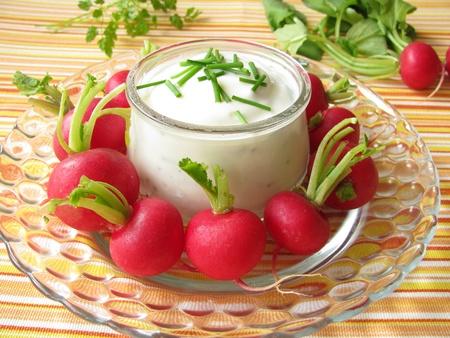 cebollin: R�banos con yogur y cebollino Foto de archivo