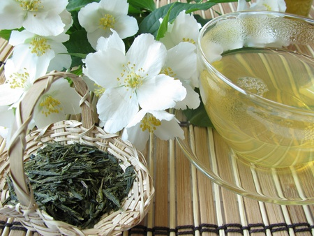 Green tea jasmine Stock Photo