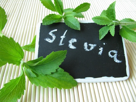 Sweet herb with nameplate Stockfoto