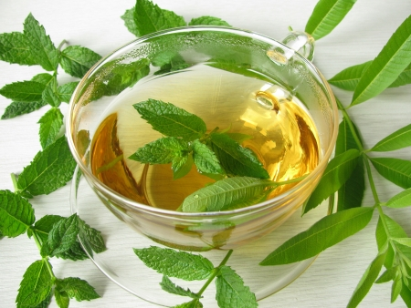 mint leaves: Herbal tea with lemon verbena and moroccan mint