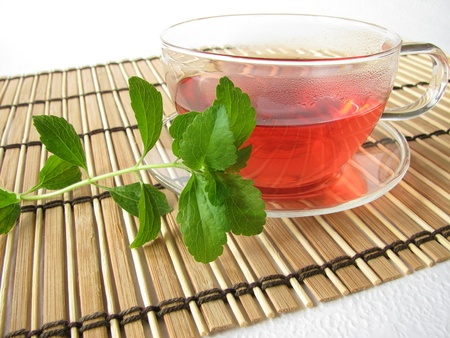 Tea sweetened with stevia Stockfoto