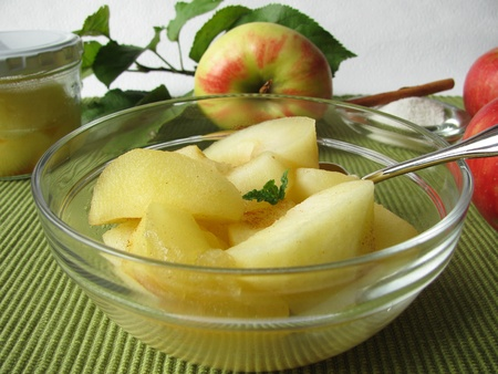stewed: A bowl of homemade stewed apples