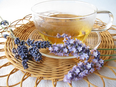 healed: Tea with lavenders Stock Photo
