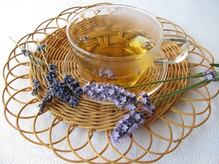 Tea with lavenders Stock fotó