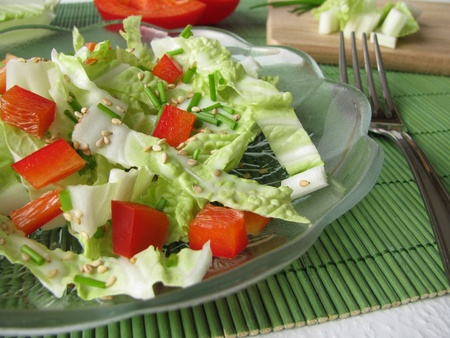roasted sesame: Chinese cabbage salad with roasted sesame Stock Photo
