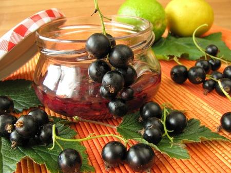stirred: Cold stirred black currant marmalade Stock Photo