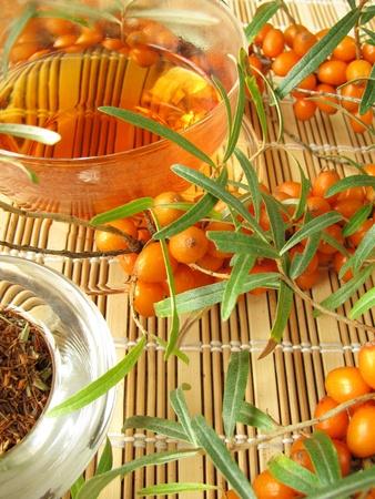 buckthorn: Rooibos tea with fruits of sea buckthorn Stock Photo