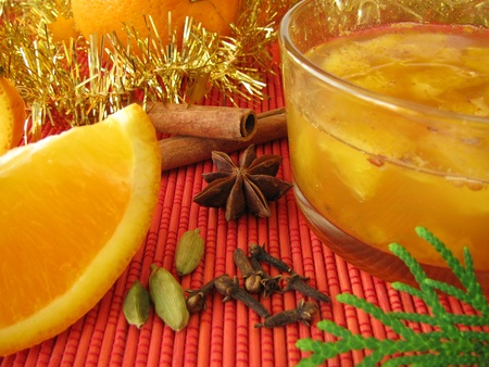 christmassy: Orange marmalade with christmassy spices Stock Photo