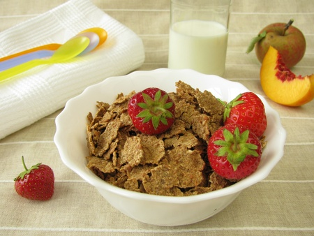 Breakfast for small children with spelt flake and milk Stock Photo - 10573025