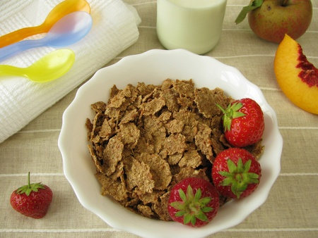 Breakfast for small children with spelt flake and milk Stock Photo - 10573029