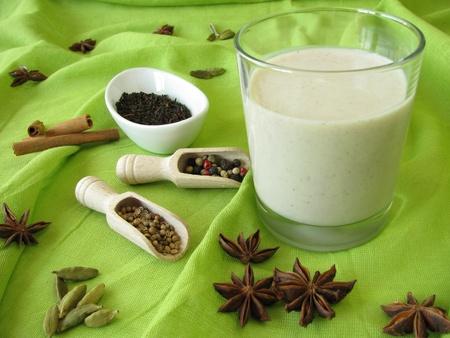 chai: Chai-Lassi of Indian kind Stock Photo