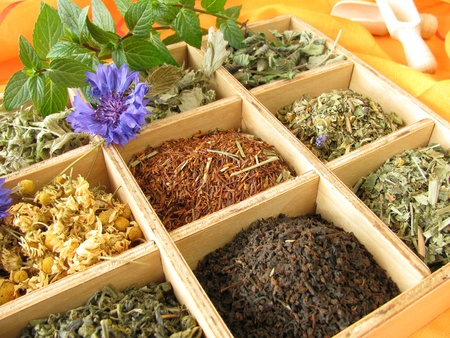 rooibos tea: Tea box with loose tea types