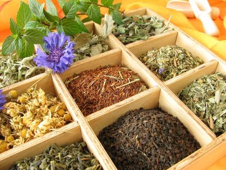 Thee doos met losse thee soorten
