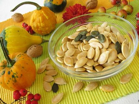 Dried pumpkin seeds photo