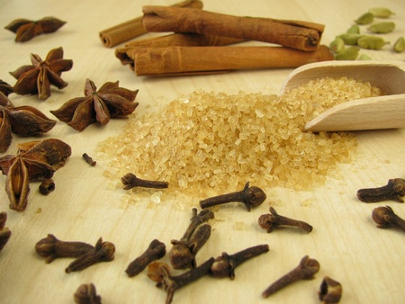 Brown raw cane sugar and spices for baking Stock Photo - 11161523