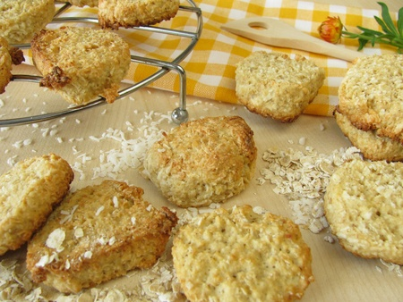 Oat flakes cookies with coconut rasped photo