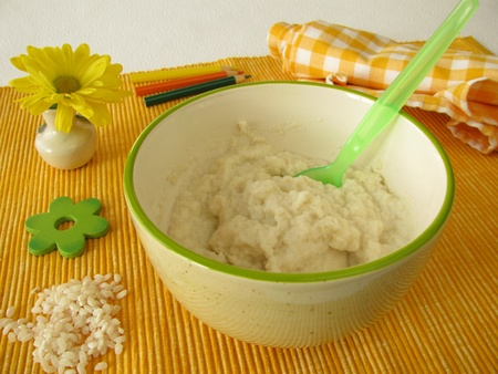 creamed: Creamed rice for babies and small children Stock Photo