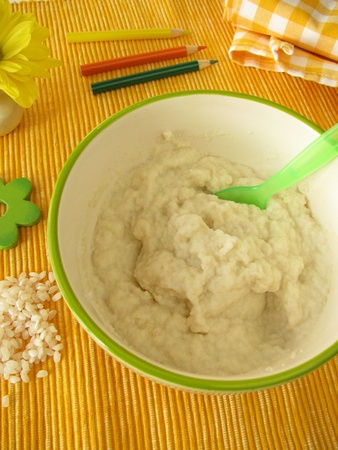 Creamed rice for babies and small children Stock Photo
