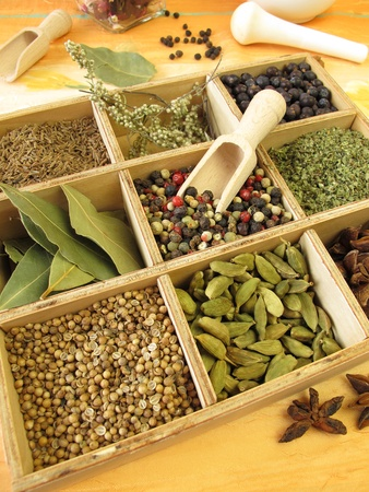 Spice doos met peper, marjolein, koriander en andere specerijen
