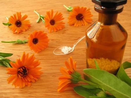 globuli: Marigold flowers and homeopathic pills