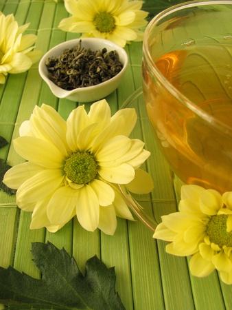 Green tea with chrysanthemum flowers