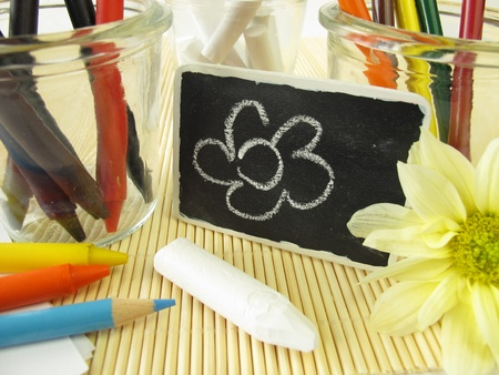 Colored pencils, wax crayons and chalk sticks for children Stock Photo - 12203541
