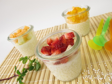 strawberry frog: Tapioca pudding with fresh fruits Stock Photo