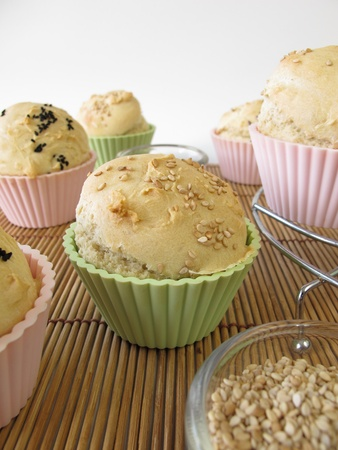 nigella seeds: Bread roll muffins Stock Photo
