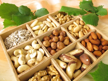 Nut mix in wooden box