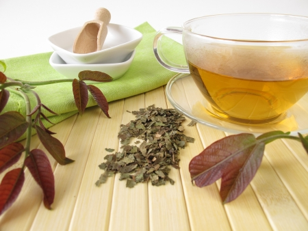 Herbal tea with walnut leaves