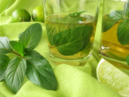 Ice tea with lemon mint photo