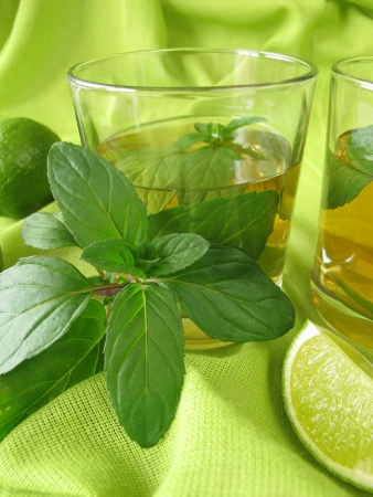 Ice tea with lemon mint photo
