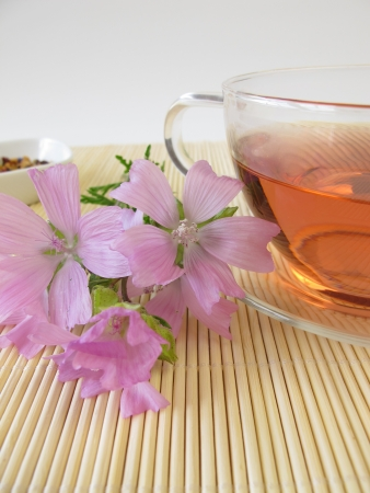 mallow: Tea with mallow flowers