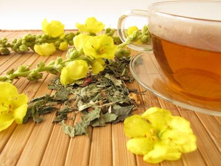 Tea with mullein flowers Archivio Fotografico