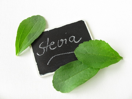 nameplate: Stevia leaves and nameplate  Stock Photo