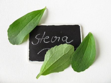 nameplate: Stevia leaves and nameplate  Stock Photo